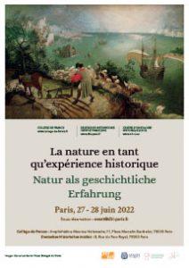 La nature en tant qu'expérience historique. Natur als geschichtliche Erfahrung Paris, 27 - 28 juin 2022